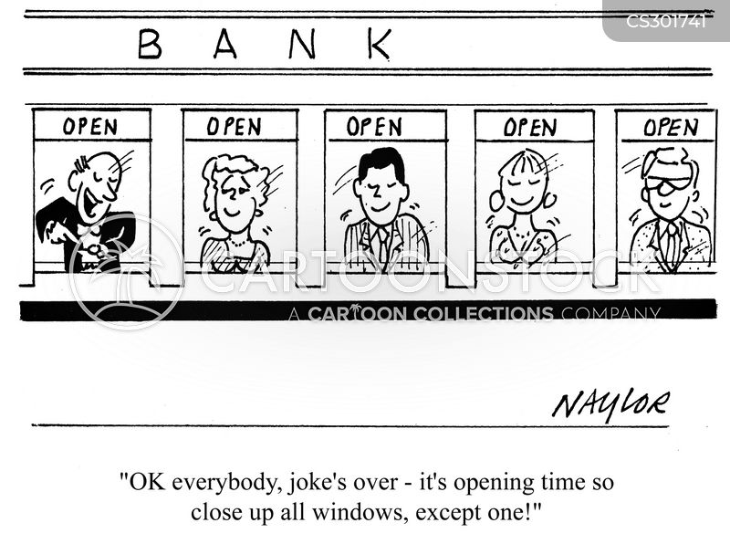 bank window cartoon