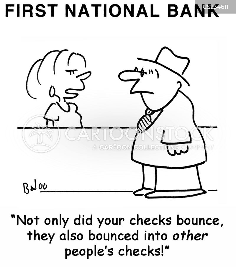 checks bouncing cartoon