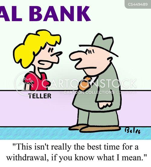 withdrawing money cartoon