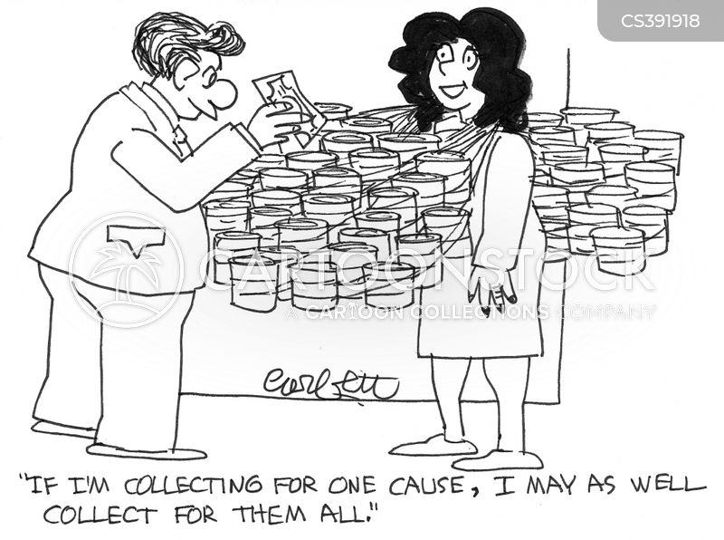 collecting for charities cartoon