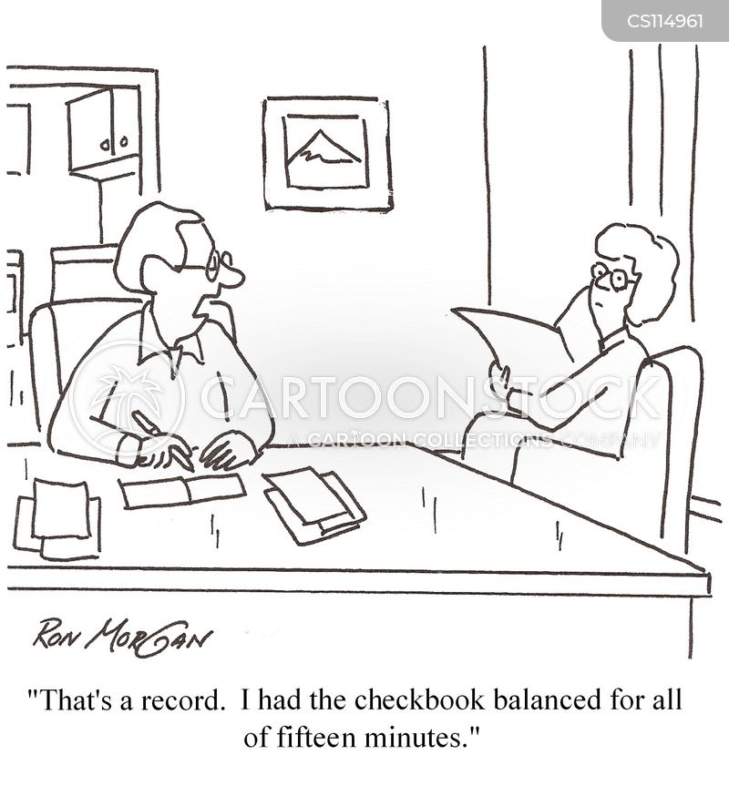 balancing checkbook cartoon
