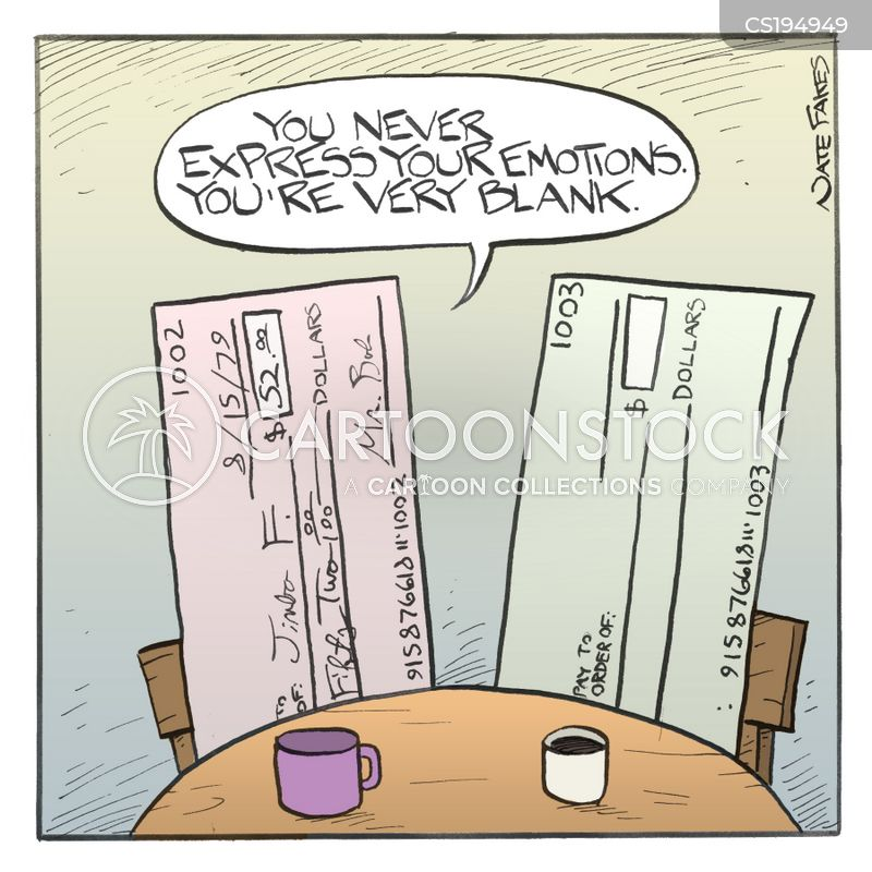 blank cheques cartoon