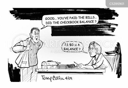 bank balance cartoon