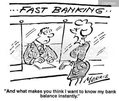 bank balances cartoon