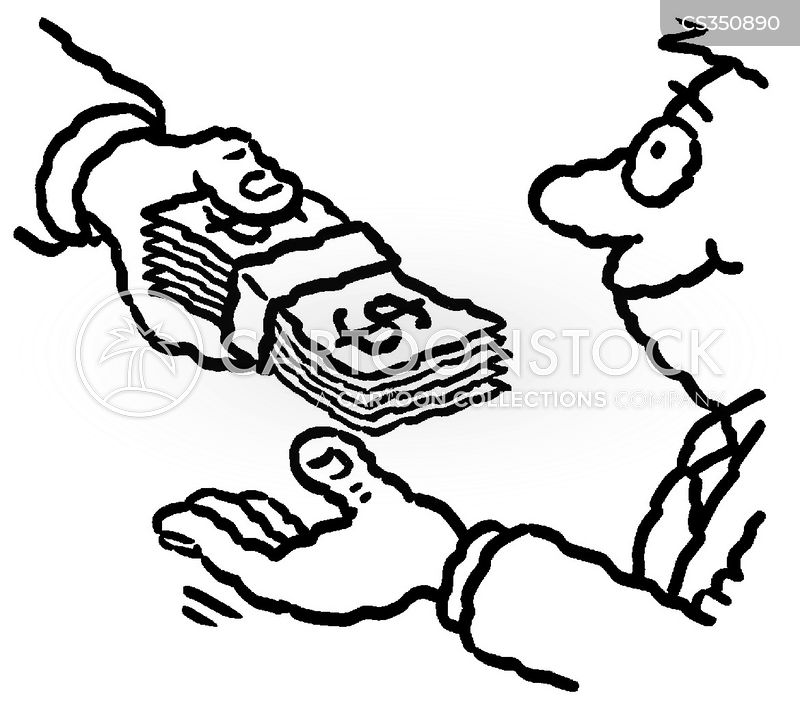 cash in hand cartoon