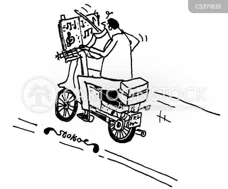 motorcycle courier cartoon