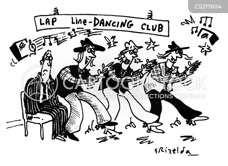line-dancing cartoon