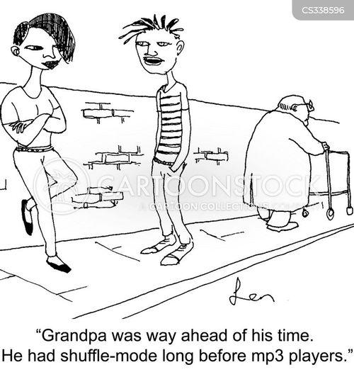 shuffling cartoon