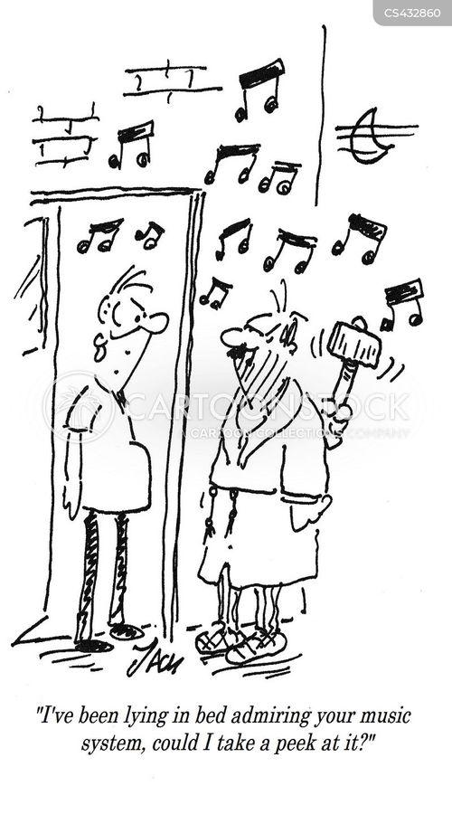 music system cartoons and comics