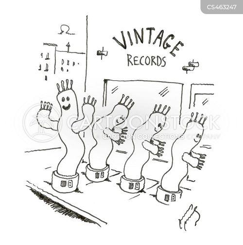 record store cartoon