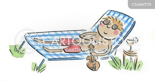 sun lounges cartoon
