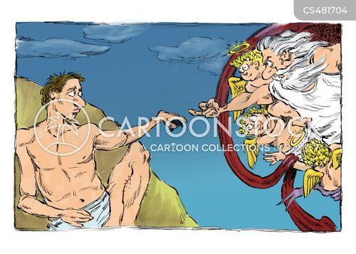 creation of adam cartoon