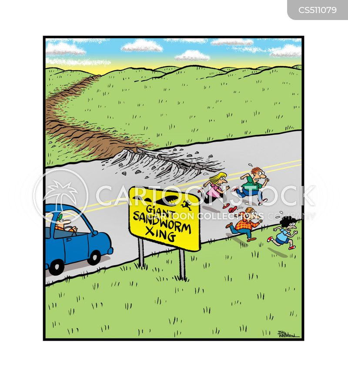 crossing signs cartoon