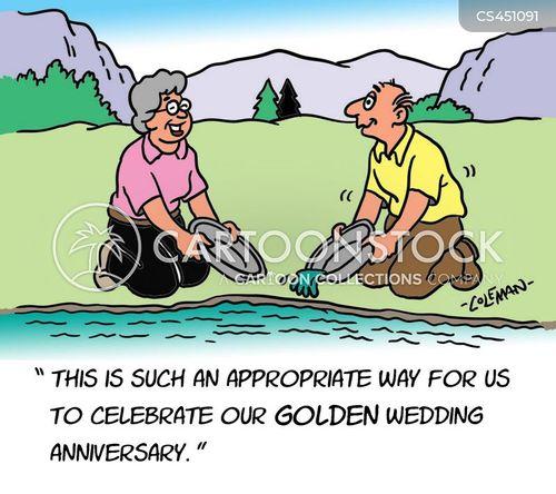 golden wedding anniversary cartoon