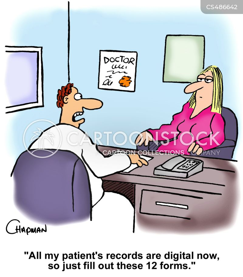patient records cartoon