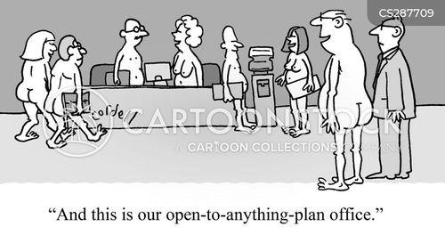 open-plan office cartoon