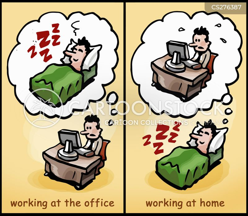 working at home cartoon