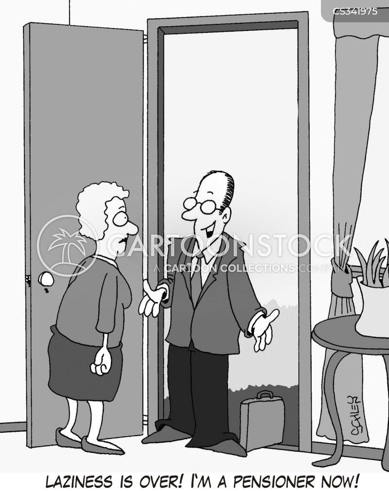 busy retirement cartoon