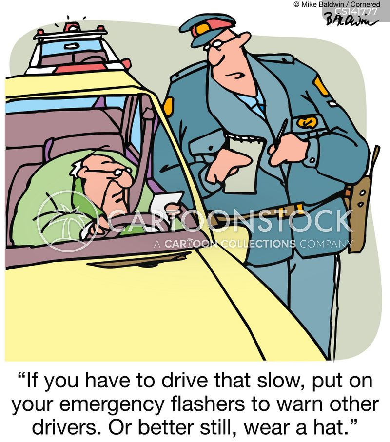 slow driver cartoon