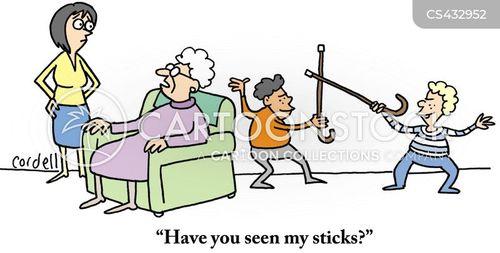 walking sticks cartoon