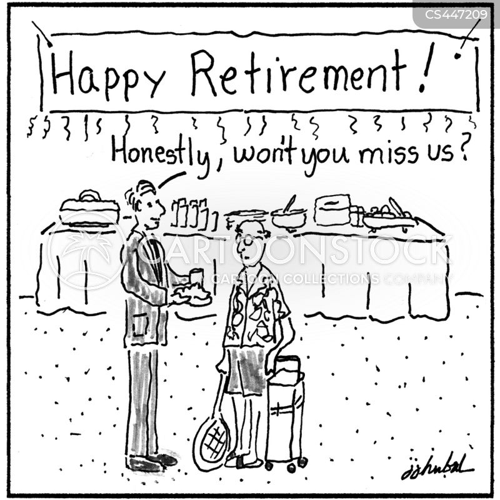 retirement party cartoon
