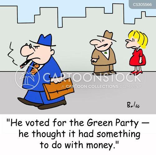 wealthy green party cartoon