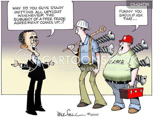 free trade agreement cartoon