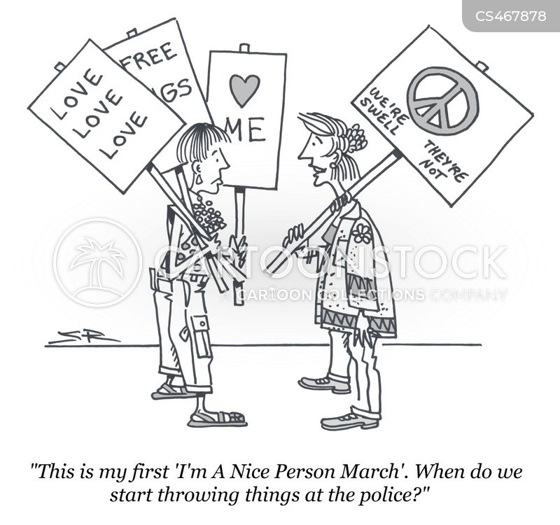 peaceful protest cartoon