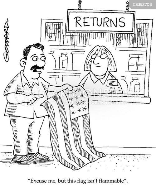 flag burning cartoon