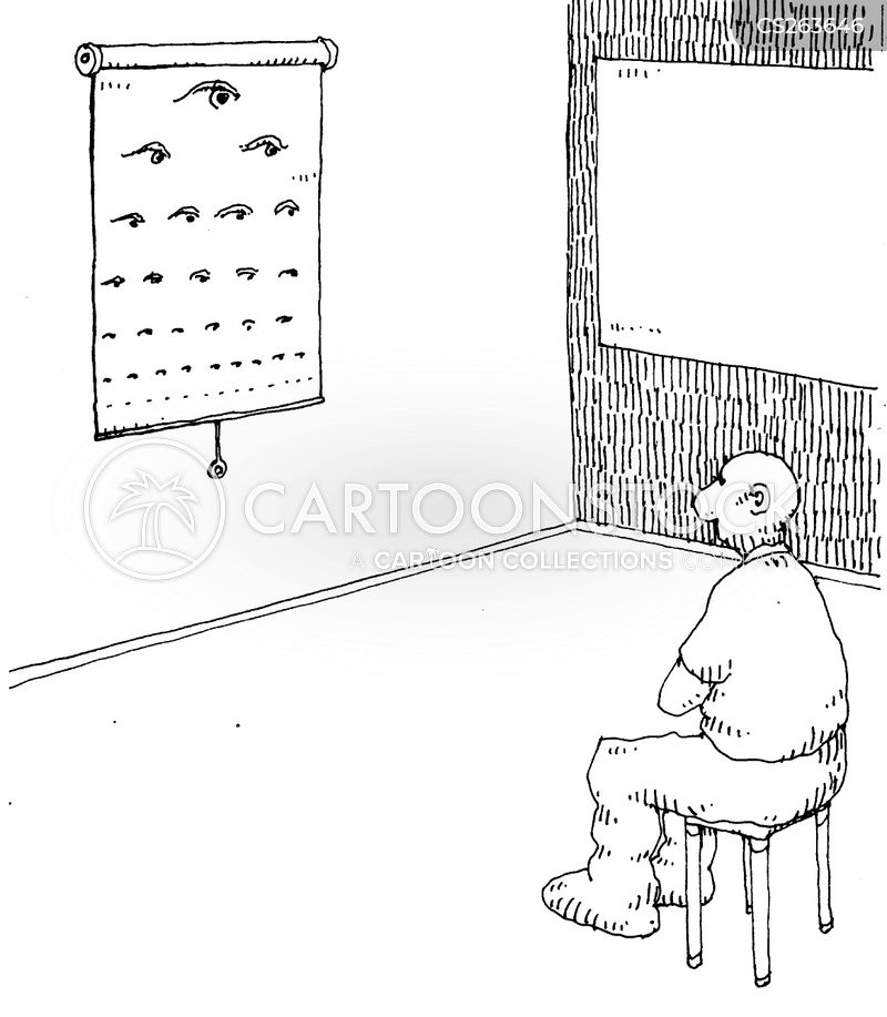 eye testing cartoon