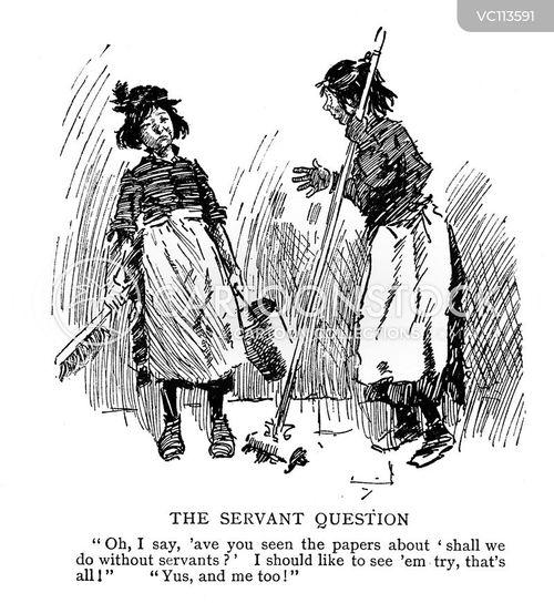 domestic servants vintage and historic cartoons
