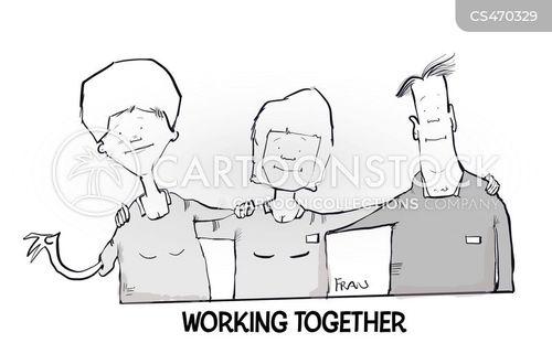 team builders cartoon