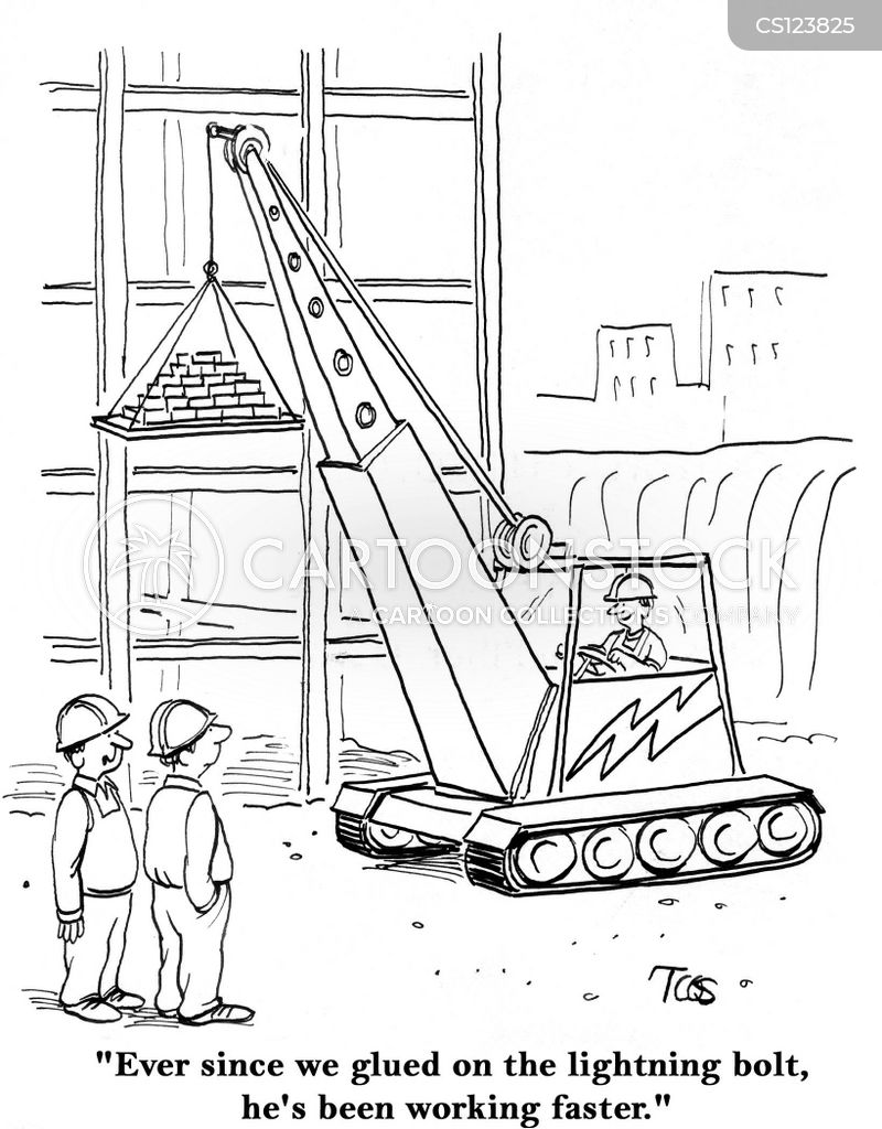 portable cranes cartoon