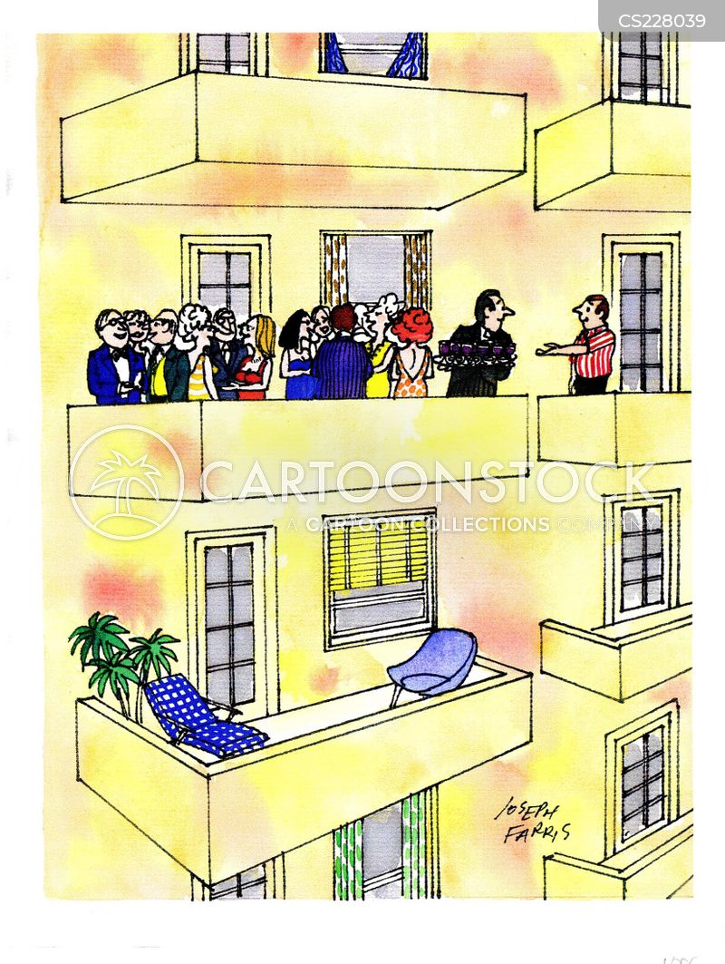 Apartment building cartoons and comics funny pictures for Balcony cartoon
