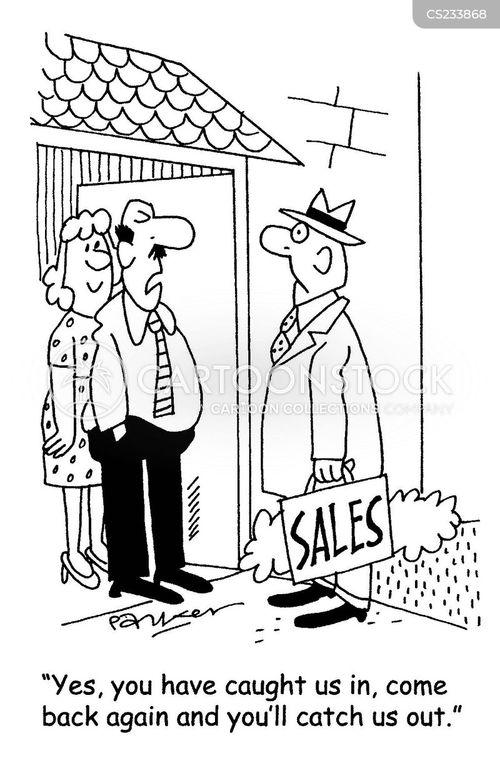 door salesman cartoon