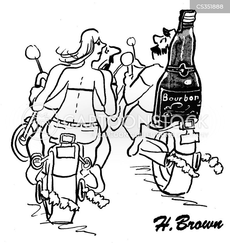 biker bars cartoon