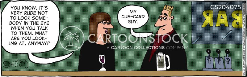 cue cards cartoon