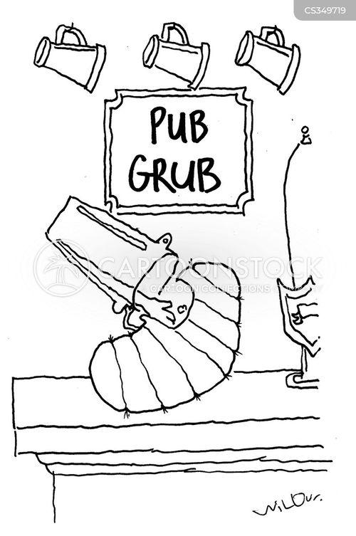 pub food cartoon