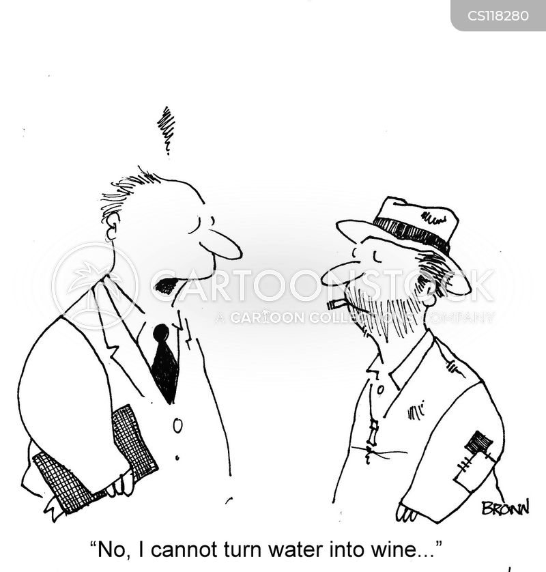 water into wine cartoon