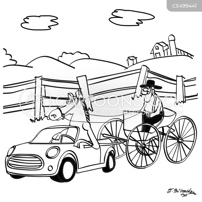 horse and buggy cartoon