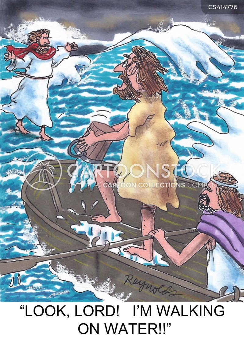 walking on water cartoon