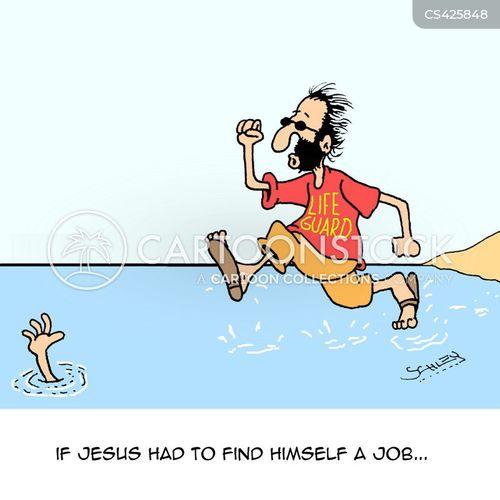 walking on water cartoon