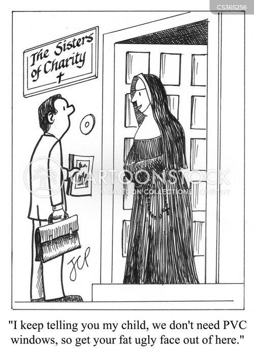 door-to-door sale cartoon