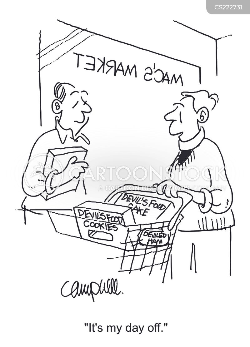 grocery shopper cartoon