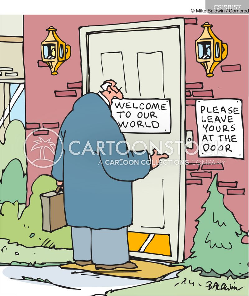welcome mat cartoon