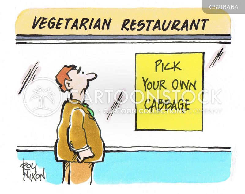 vegetarian restaurant cartoon