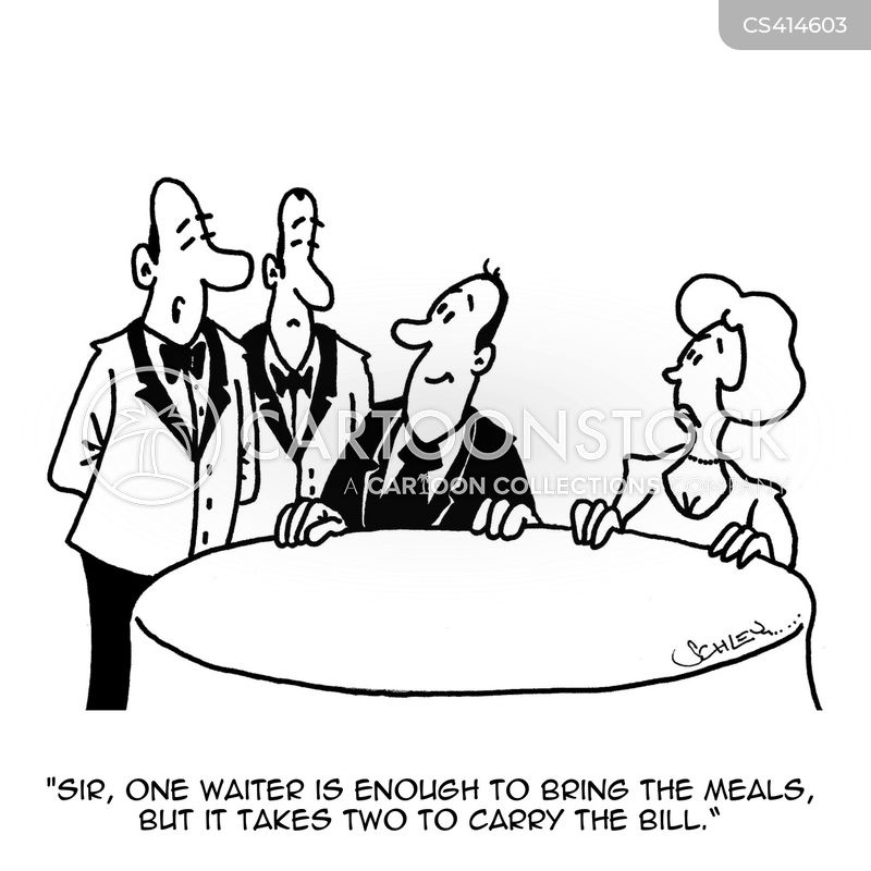 restaurant bill cartoon