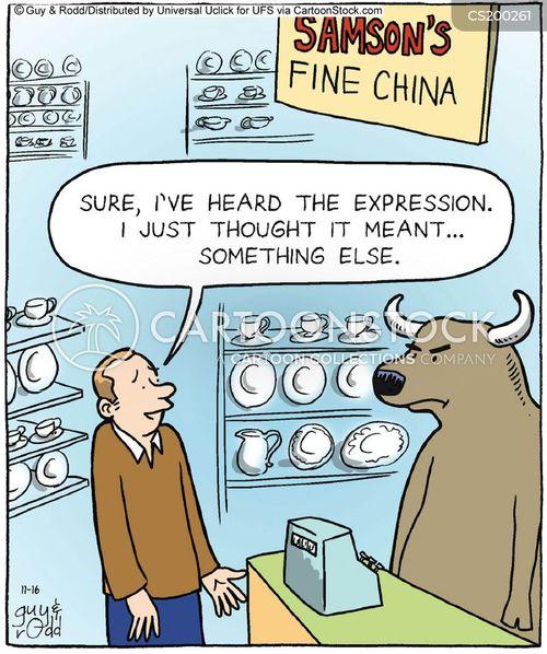 bull in a china shop cartoon