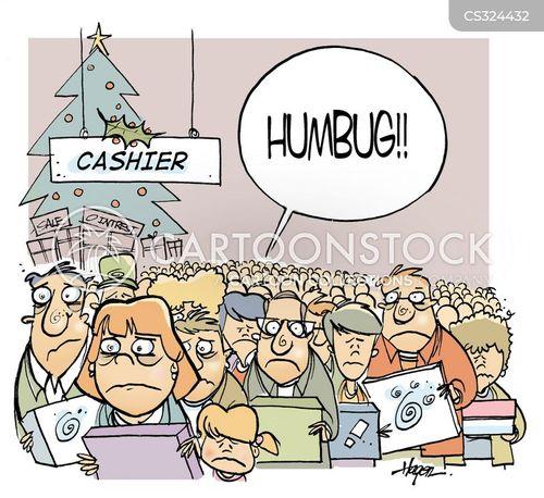 christmas shoppersshop cartoon