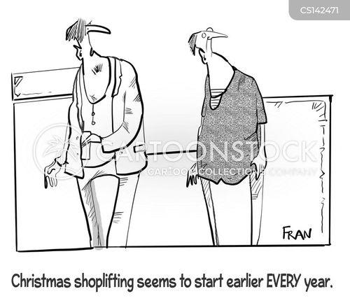 christmas shopping cartoon